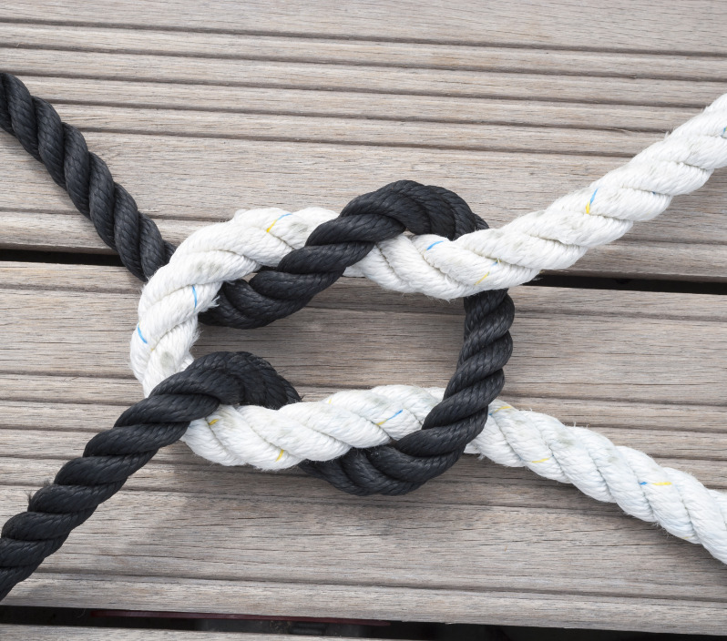 Black and white ropes in a knot